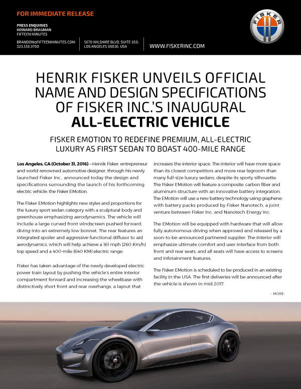 Fisker Emotion Announcement Oct 31, 2016